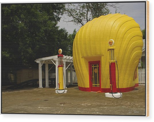 Shell Oil Gas Station Wood Print