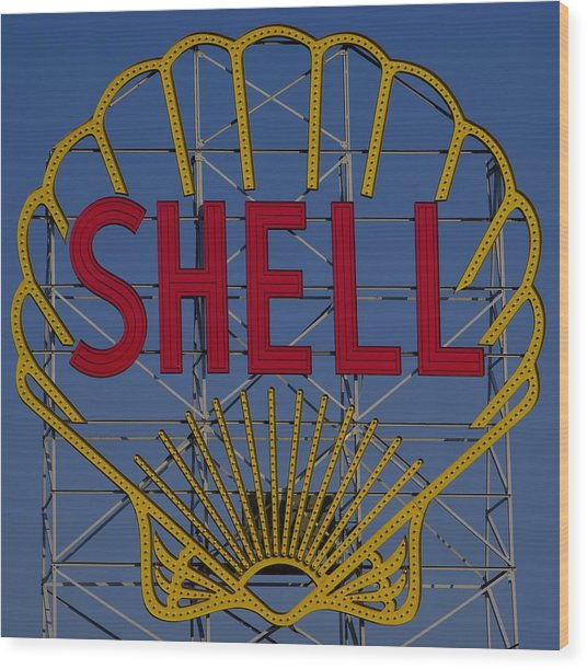 Shell Sign Cambridgeside Wood Print