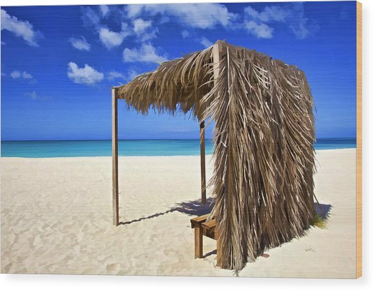 Shelter On A White Sandy Caribbean Beach With A Blue Sky And White Clouds Wood Print