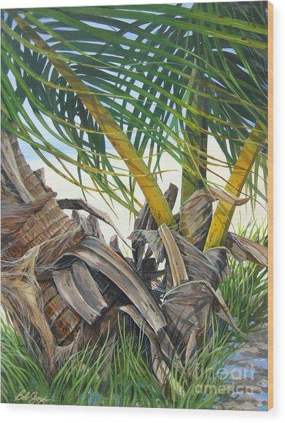 Sheltering Palms Wood Print