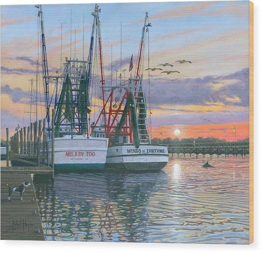 Shem Creek Shrimpers Charleston  Wood Print