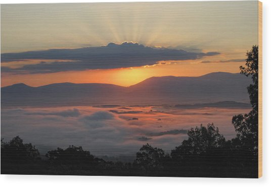 Shenandoah Morning Sunrise Fog  Wood Print