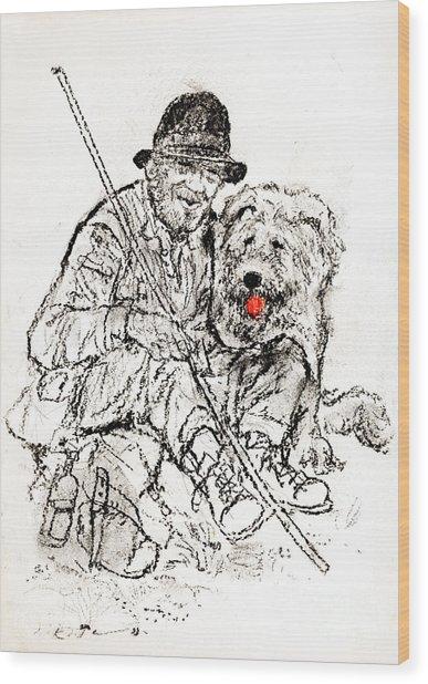 Shepherd With Dog Wood Print by Kurt Tessmann