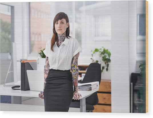 She's Ready To Rock The Corporate Scene Wood Print by PeopleImages