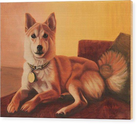 Shiba Inu Portrait Wood Print