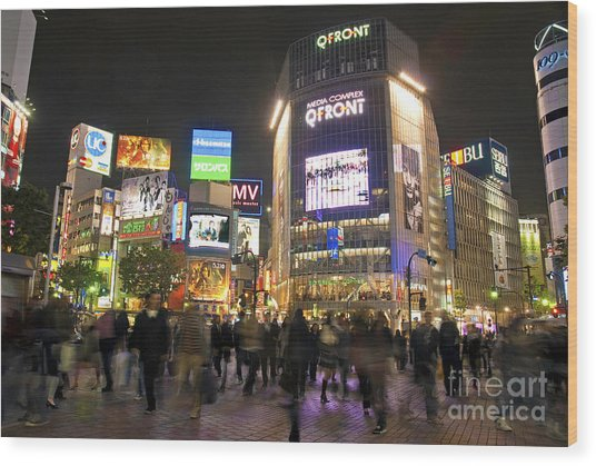 Shibuya Crossing At Night Tokyo Japan  Wood Print