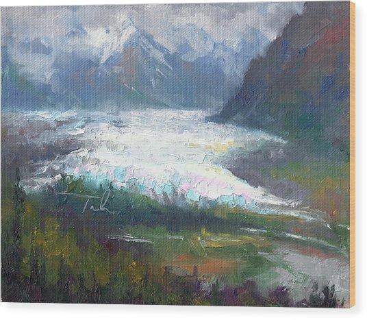 Shifting Light - Matanuska Glacier Wood Print