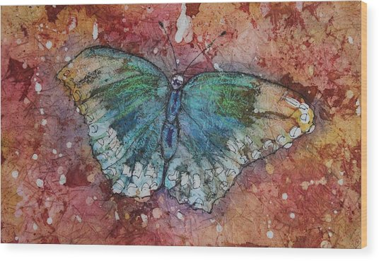 Wood Print featuring the painting Shimmer Wings by Ruth Kamenev