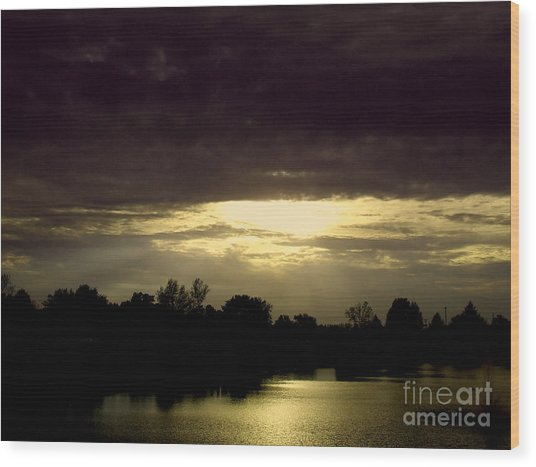 Shimmering Shadow Sunset Wood Print