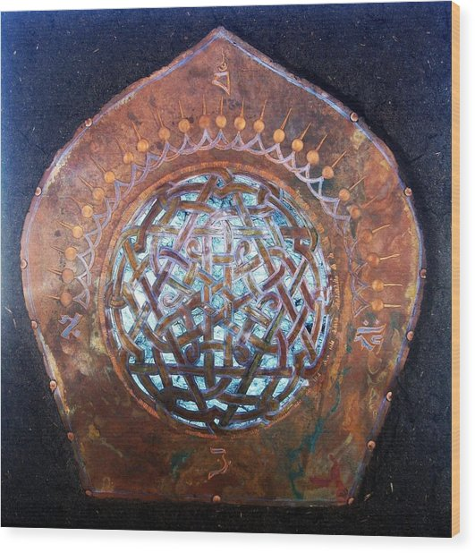 Wood Print featuring the mixed media Shimmering by Shahna Lax