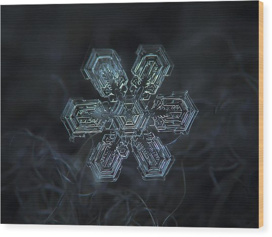 Snowflake Photo - Shine Wood Print
