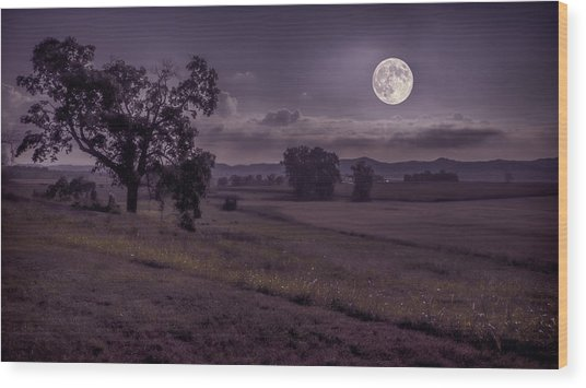 Shine On Harvest Moon Wood Print