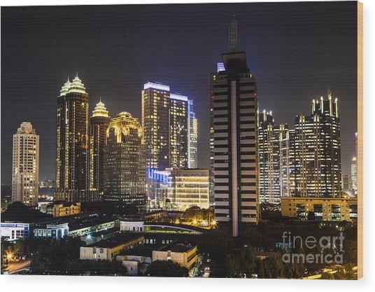 Shining Jakarta Wood Print by Asiadreamphoto