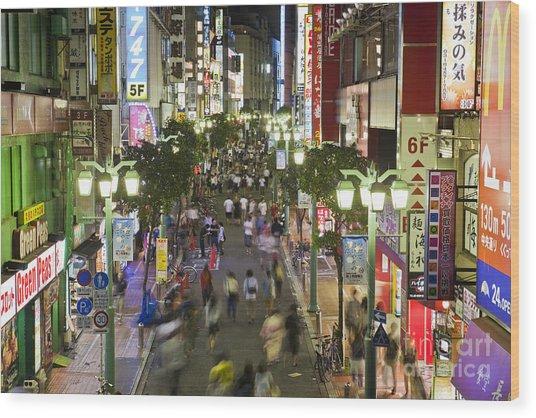 Shinjuku Street Scene At Night Wood Print