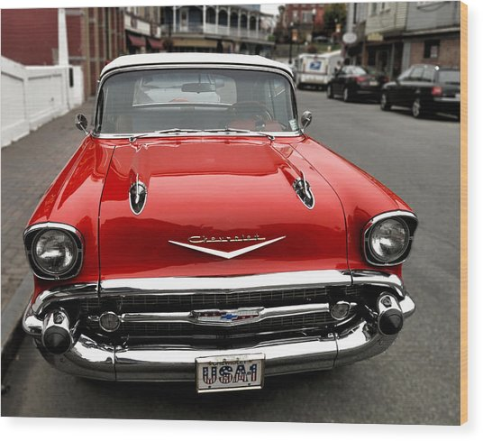 Shiny Red Chevrolet Wood Print