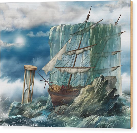 Ship And Ice Wood Print