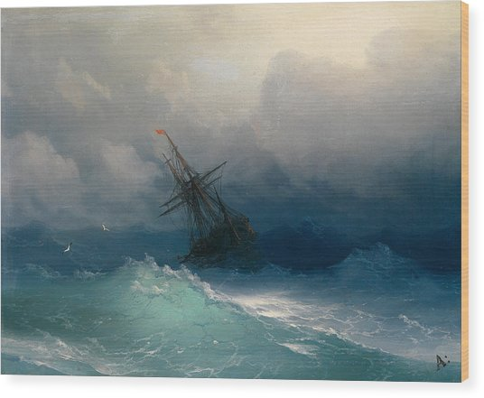 Ship On Stormy Seas Wood Print
