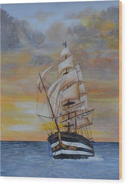 Ship On The High Seas Wood Print