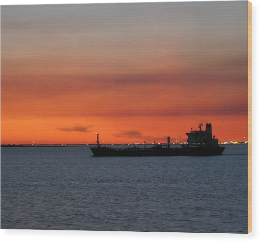 Ship Outbound Wood Print
