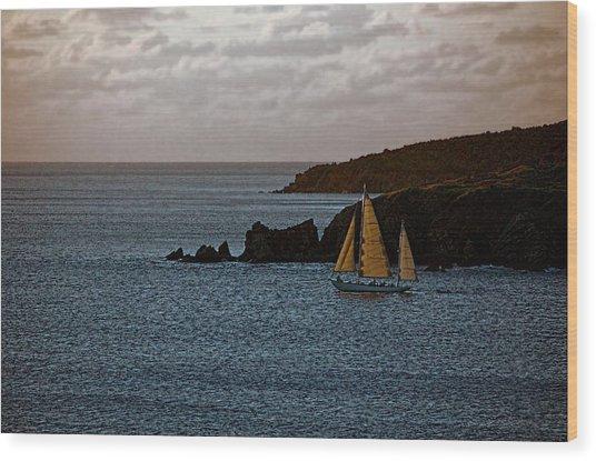 Ship Sailing At Dawn Wood Print
