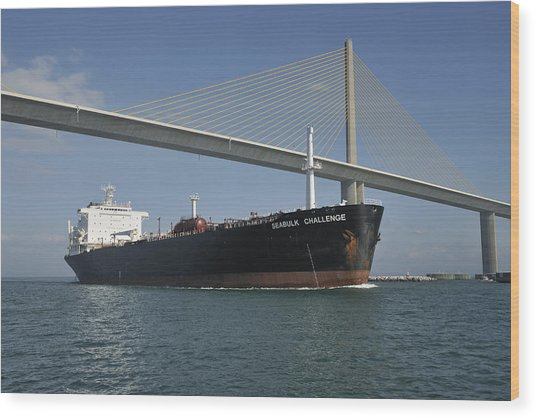 Ship Under Sunshine Skyway Bridge Wood Print