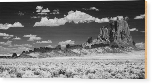 Shiprock Dyke Long View Wood Print