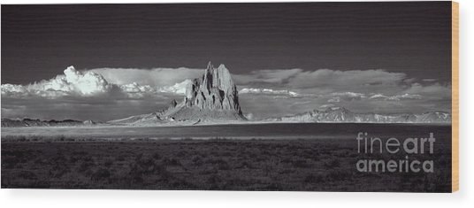 Shiprock Evening Panorama Wood Print