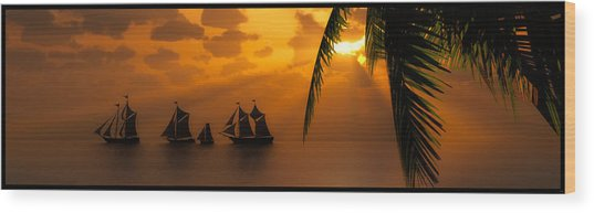 Ships And The Golden Dawn... Wood Print