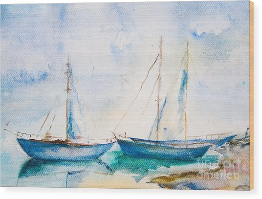 Ships In The Sea Wood Print