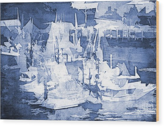 Ships In The Water Wood Print