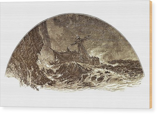 Shipwreck Illustration Wood Print