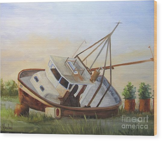 Shipwrecked Ike II Wood Print