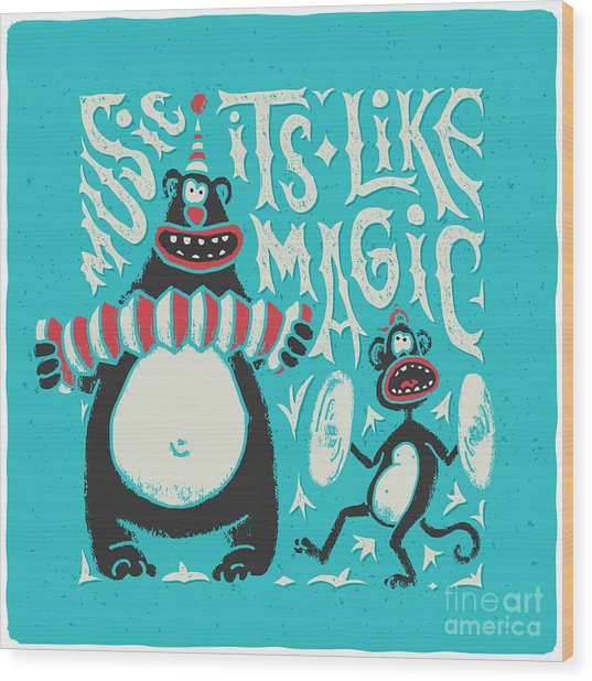 Shirt Print With Band Of Circus Monkey Wood Print