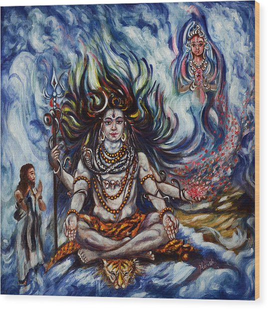 Shiva - Ganga - Harsh Malik Wood Print