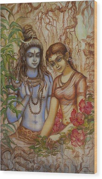 Shiva And Parvati Wood Print