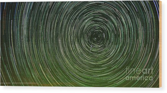 Shooting Star Trails Wood Print