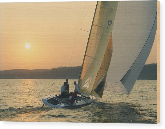 Shooting The Breeze - Lake Geneva Wisconsin Wood Print