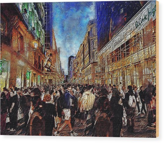 Shopping Madness Wood Print by Cary Shapiro