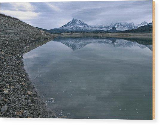 Shoreline And West Elk Mountains Wood Print