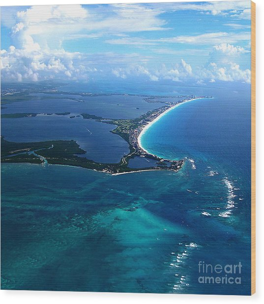 Shoreline-cancun Wood Print by Addie Hocynec