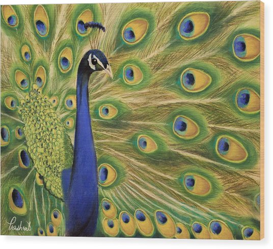 Showoff - Peacock Painting Wood Print by Prashant Shah