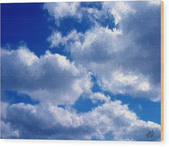 Shredded Clouds Wood Print