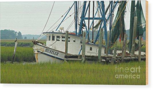 Shrimp Boat And Pelican - Lowlands Of South Carolina Wood Print