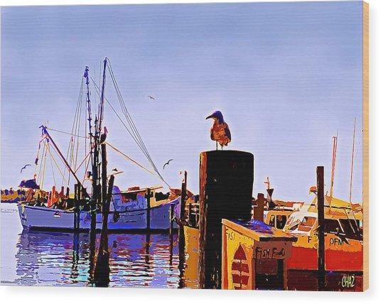 Shrimp Boat At Dock Wood Print