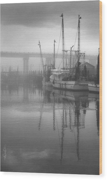 Shrimp Boats In The Fog - Black And White Wood Print