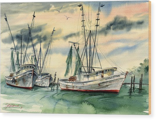 Shrimp Boats In The Keys Wood Print
