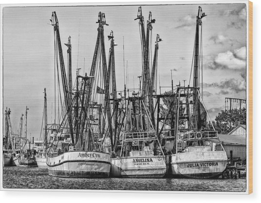 Shrimp Boats Wood Print