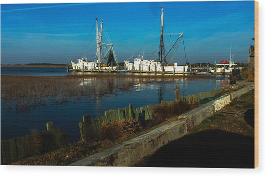 Shrimp Boats Wood Print