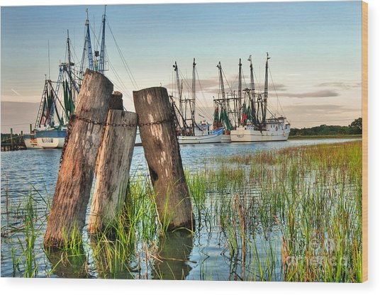 Shrimp Dock Pilings Wood Print