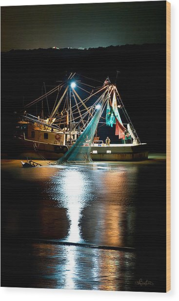 Shrimping Tybee Style Wood Print